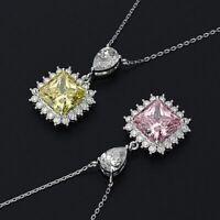 Damen Halskette echt Silber 925 Citrin Rosenquarz Stein Kette Silber mt Anhänger