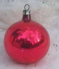 VINTAGE RED FEATHER TREE POLAND MERCURY GLASS CHRISTMAS ORNAMENT
