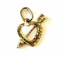 14k yellow gold diamond cut arrow heart pendant slide charm .8g estate vintage
