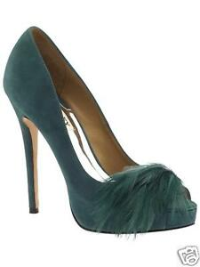 NIB Badgley Mischka Ginnie leather evening open toe pump shoes feather Teal 10 M