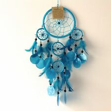 NEW TURQUOISE BLUE SHELL FEATHER DREAM CATCHER NATIVE AMERICAN HANGING MOBILE