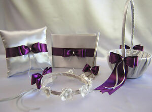 Silver Eggplant Flower Girl Basket Halo Ring Pillow Guest Book Pen Your Colors