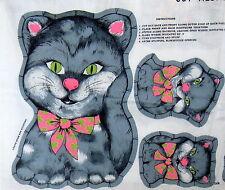 """Vintage 60s 70s Fabric Panel Gray Kitten Kitty Cat pillow stuffed animal 6"""" 13"""""""