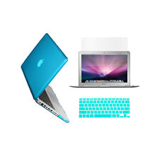 "3 in 1 Crystal AQUA BLUE Case for Macbook PRO 15"" + Key Cover +LCD Screen"