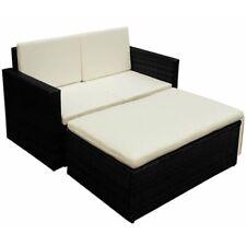 7 PC Black Rattan Garden Sofa Set Weatherproof Lightweight Footrest & Cushions