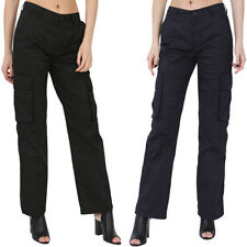 Straight Leg Cotton Mid Rise Regular Size Trousers for Women