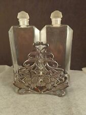 French Millot Perfume Frosted Top Glass Bottles w Art Nouveau Silverplate Stand