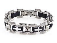 """Men Silver Cross Stainless Steel Black Rubber Bracelet Bangle Wristband 8.5"""" Hot"""