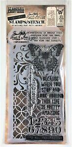 Tim Holtz Stampers Anonymous Flourish Latticework Mixed Media Stamp Stencil Set