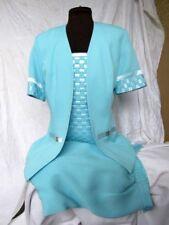 LORI WEIDNER/ Ribkoff  3 PC SUIT  BABY BLUE SATIN Camisole JACKET  VINTAGE Sz 6