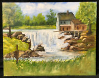Vintage Original Oil Painting Landscape House on Waterfall Signed Ruth Juve #18
