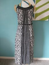 Lucky Brand Black White Long Maxi T Back Dress sz L Large NEW NWT