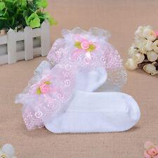 NUEVO niña ENCAJE CON VOLANTES Bautizo Calcetines en blanco, rosa, lila, Azul