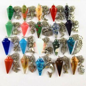 20Pcs Mixed Gemstone Pendulum & Tibetan Silver Different Shaps Pendant