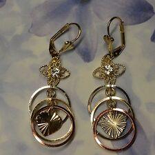 Dolly-Bijoux Fantaisie Bo Dormeuse Fleur Diamant Cz de 3 Anneaux 3 Or signé SL
