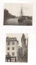 2 PHOTOS ANCIENNES - MORLAIX Bateau Quai Ville Bretagne Finistère Vers 1905
