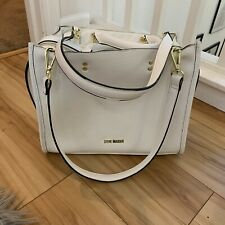 Steve Madden White Satchel Purse Pebbled Faux Leather Handbag Multi Compartment