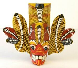 """Mini Tiki Mask Hand Carved Hand Painted 5"""" Aztec Asian Snake"""