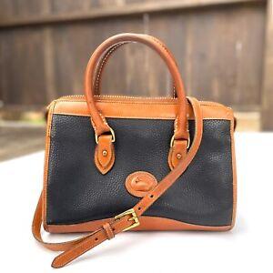 Vtg Dooney & Bourke Black & Brown All Weather Leather Satchel Shoulder Bag -USA