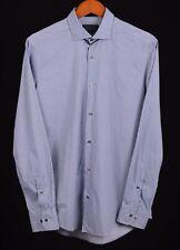 Pal Zileri Blue Geometric Pattern 100% Cotton Button Down Dress Shirt 15.75 / 40