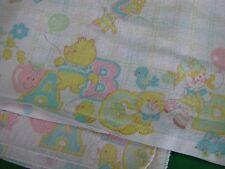 2 Vintage Kendall 1981 White Receiving Baby Blankets Dolls Chicks Giraffes Bears