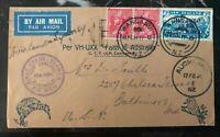 1934 Wanganui New Zealand First Flight Cover To Baltimore MD USA Trans Tasma MXE