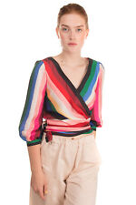 RRP €290 ALICE + OLIVIA Wrap Top Size S Striped 3/4 Sleeve Tie Hem V Neck