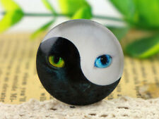 25mm Handmade Photo Glass Cabochons | Ying Yang Cat | 5pcs