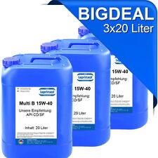 3x20l 15W40 für den rationellen Einsatz im gemischten Fuhrpark Motorenöl 60 L