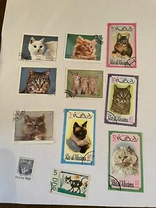 Postage stamps used cats 10 stamps