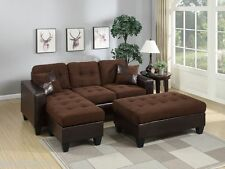 Sectionals Reversible Sectional Sofa w Ottoman Modern Chocolate Couch Microfiber