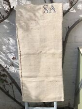 More details for beautiful embroidered vintage hemp grain sack material  upholstey