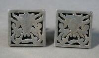 Vintage Antique Sterling Silver Men's Square Cuff Links Mexico  #J2438