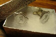 """ A "" Monogram Faux WAX Seal design Cufflinks 1 Pair (Two) * Silver Plated   a"