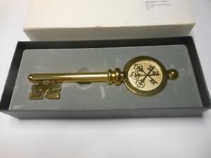 GOLD SWISS BANK CORPORATION 125TH ANNIVERSARY KEY LETTER OPENER COA SWITZERLAND