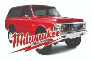 MILWAUKEE TOOLS STICKER DECAL USA K5 BLAZER MECHANIC GLOSSY LABEL TOOL BOX USA