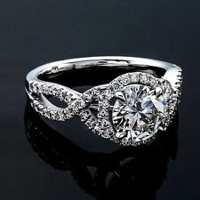1.31 CT ROUND CUT NATURAL DIAMOND HALO ENGAGEMENT RING 14K WHITE GOLD