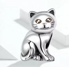 🇬🇧💜💜925 STERLING SILVER CUTE CAT KITTEN CHARM & POUCH