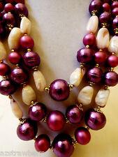 "VTG Japan signed  3 strands purple pearl faux color shell  beads neckalce 21.5""L"