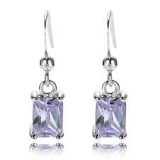 Sale! Lady Gift Tanzanite 18K White Gold Plated Gp Dangle Earrings Drop Earings