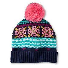 Girls Kids Nightfall Blue Hearts Pink Pom-Pom Knitted Beanie Winter Hat 4-16