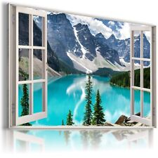 MOUNTAINS RIVER WINTER SNOW 3D Window View Canvas Wall Art Picture W65  MATAGA .