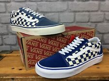 VANS MENS UK 7 EU 40.5 OLD SKOOL BLUE/WHITE CHECKERBOARD CANVAS TRAINERS