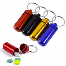 1Pc Aluminum Pill Box Case Medicine Bottle Holder Container Keychain Waterproof
