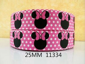 """Minnie Mouse Ribbon 1"""" (25mm) Wide 1m is only £1.49 NEW UK SELLER FREE P&P"""