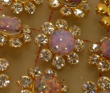 "12 gold metal Czech rhinestone shank buttons glass fire opal center 3/4"" #690"