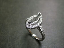 0.67 Ct Marquise Cut Halo Engagement Semi Mount Setting Ring 14K White Gold Over