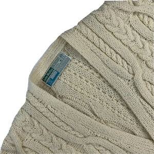 Mint ! XL John Molloy Genuine Donegal Hand Knit Heavy Wool Cable knit Cardigan