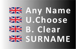 """""""SMALL"""" Rally Decals, Name Stickers Union Jack Flag 20mm Tall (F2)"""