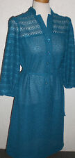 Vintage 1960s 70s Shirt Dress Rayon Acetate Linen Polyester Turquoise Shear